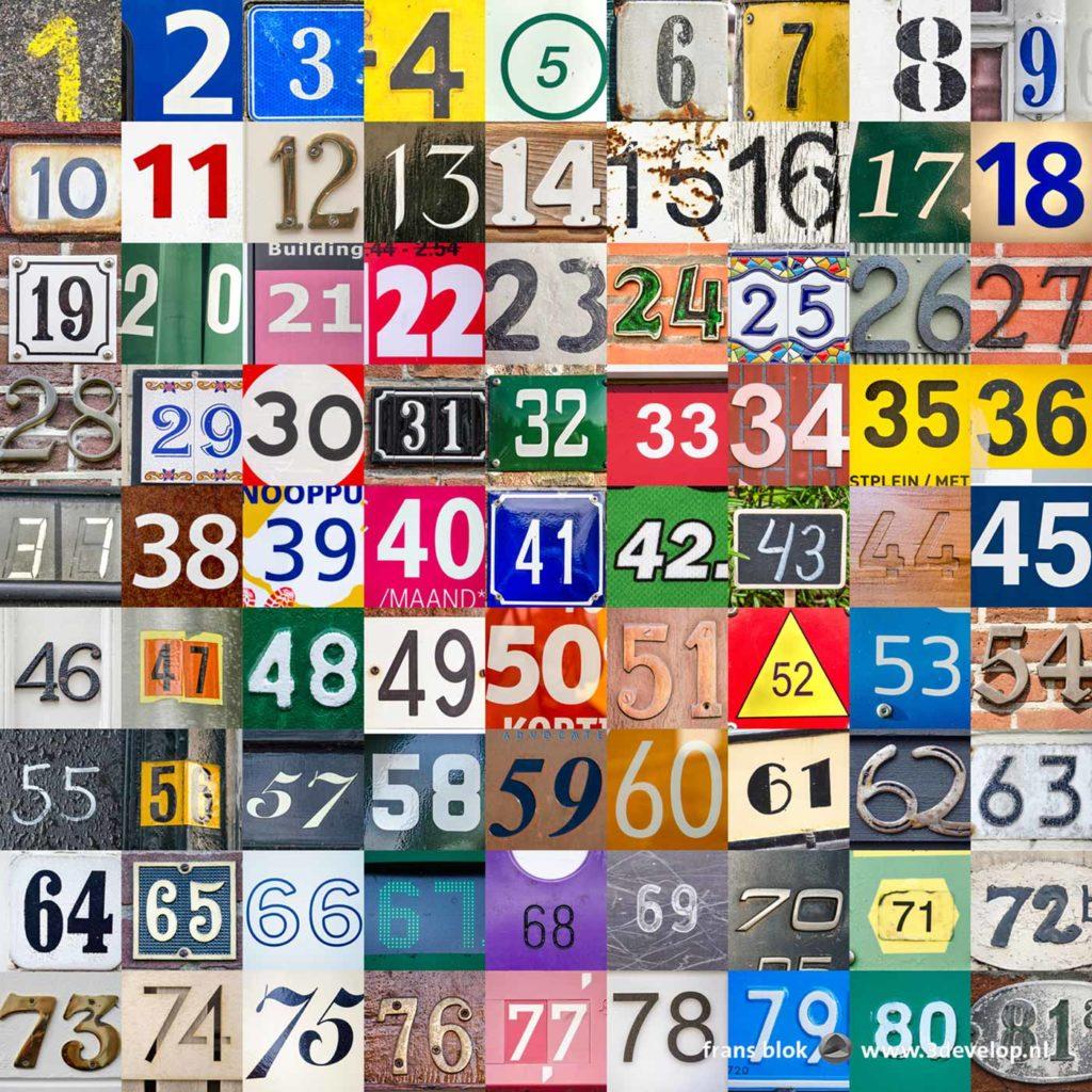 De eerste 81 foto's gemaakt in het kader van de numbers challenge, getallen aangetroffen op huisnummerbordjes, lantaarnpalen en andere gevonden voorwerpen.