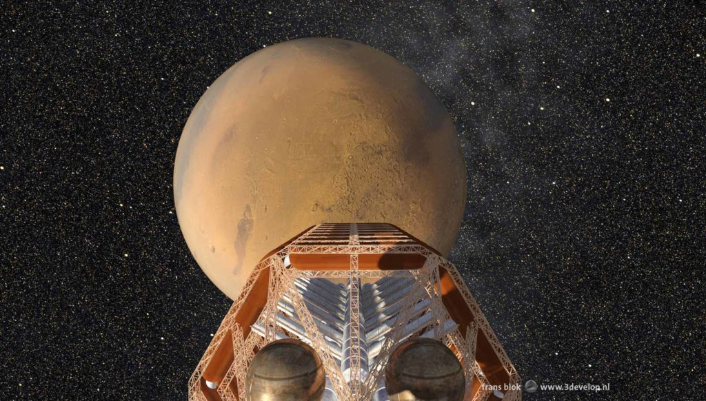 The Ares, the spaceship on which the First Hundred travelled to Mars in Kim Stanley Robinson's Mars trilogy, with the Red Planet and the stars as a background
