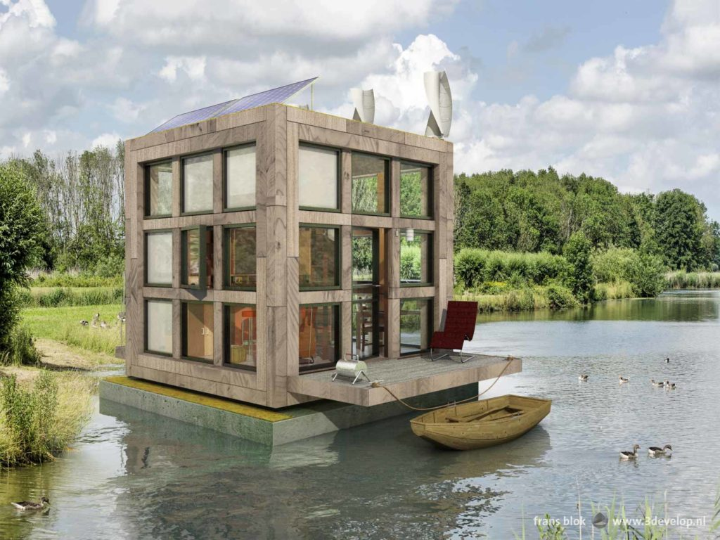 Block's little Block, a tiny houseboat in a green environment with forest, water, shrubs, reeds, grass and geese