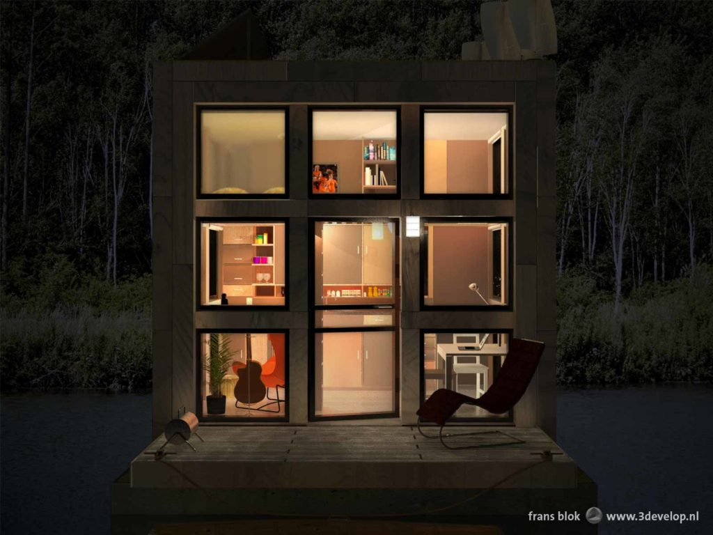 Night view of Block's little Block, a floating tiny house