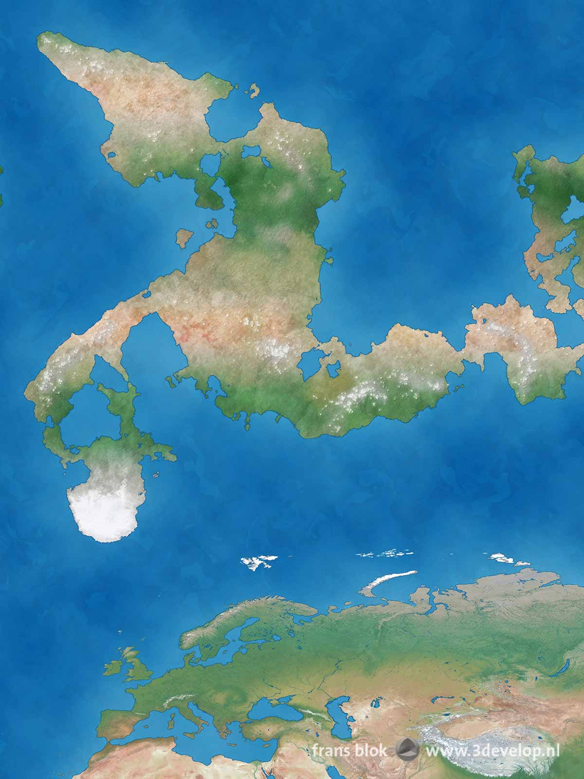 Detail of a world map of a hypothetical Flat Earth, with Europe, Asia and a large continent to the north