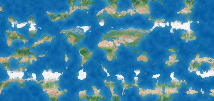 World map of a tiny section of a hypothetical Flat Earth, with the known oceans and continents in the center surrounded by various other land masses and bodies of water
