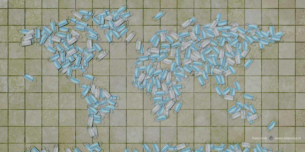 Wereldkaart opgebouwd uit 388 mondkapjes, achteloos weggesmeten op het trottoir