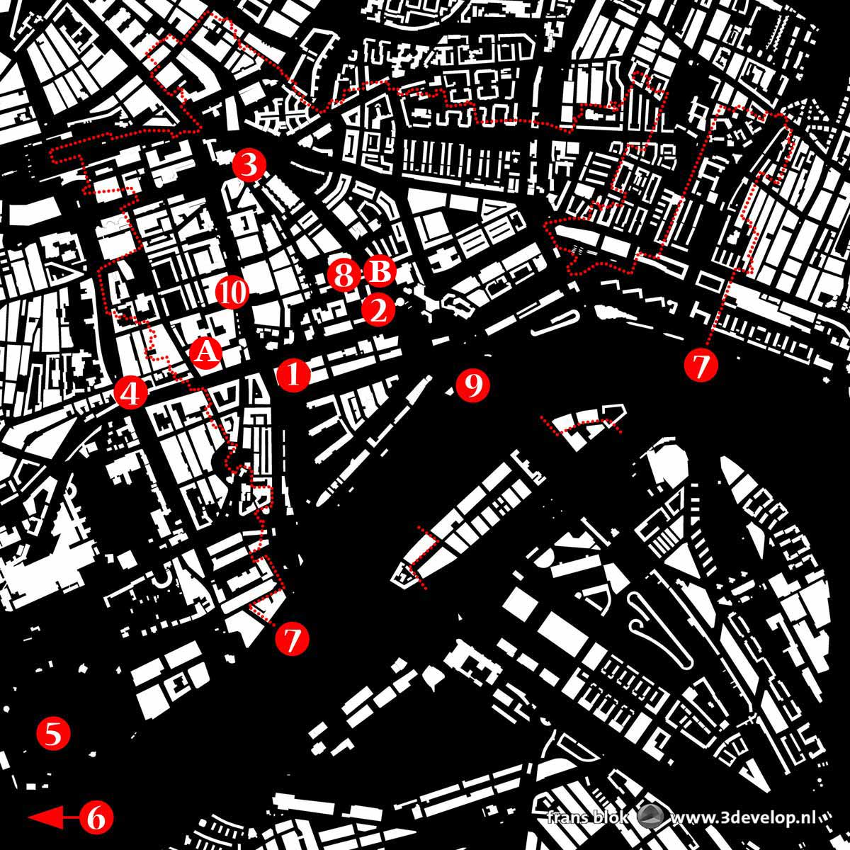Map of downtown Rotterdam with the locations of the entries in the public sculpture top 10