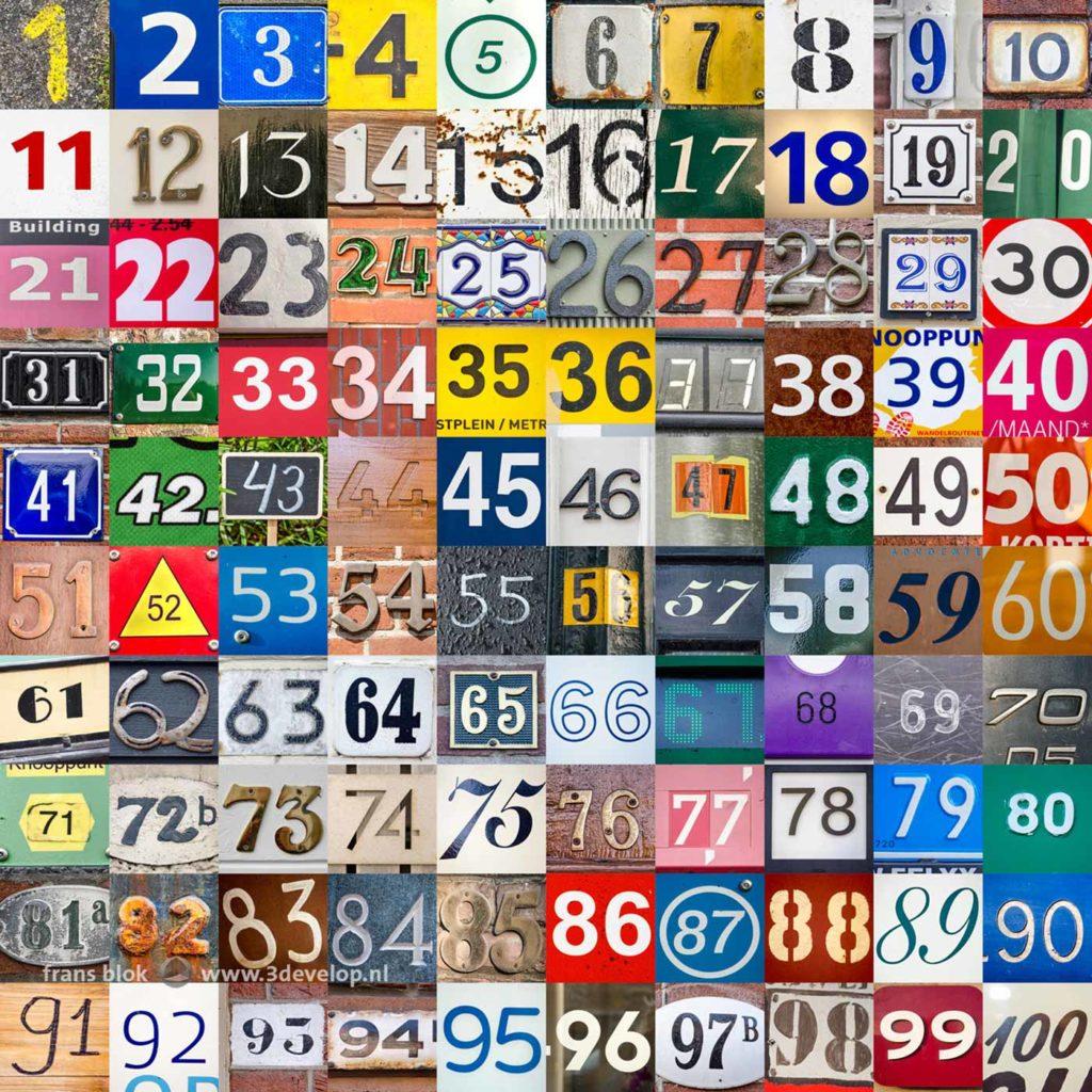 Het eindresultaat van de numbers challenge, ook wel aangeduid als de getallenuitdaging: de nummers 1 t/m 100 in zeer uiteenlopende kleuren, lettertypen, materialen en situaties