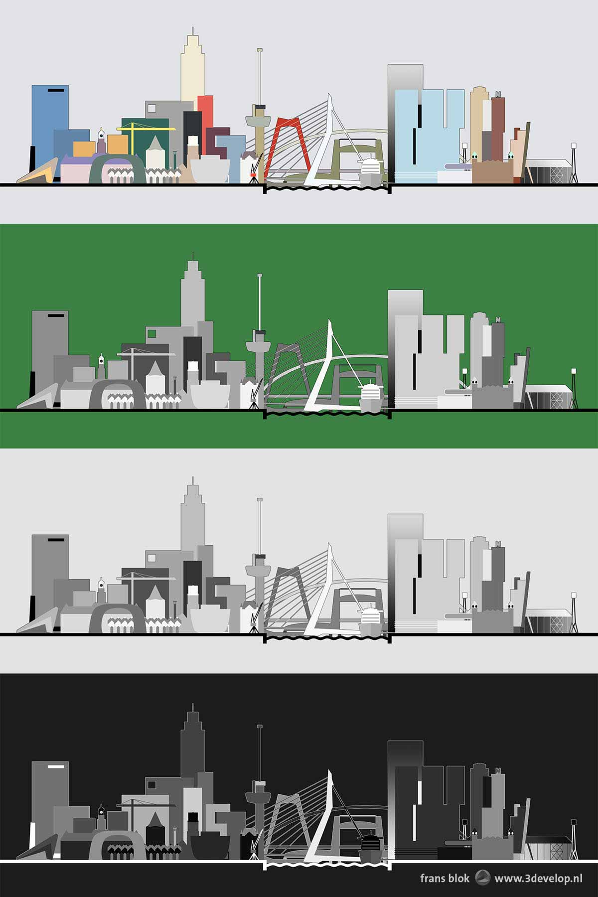 A graphical representation of the Rotterdam skyline with all important buildings, bridges and other icons, in four different color schemes