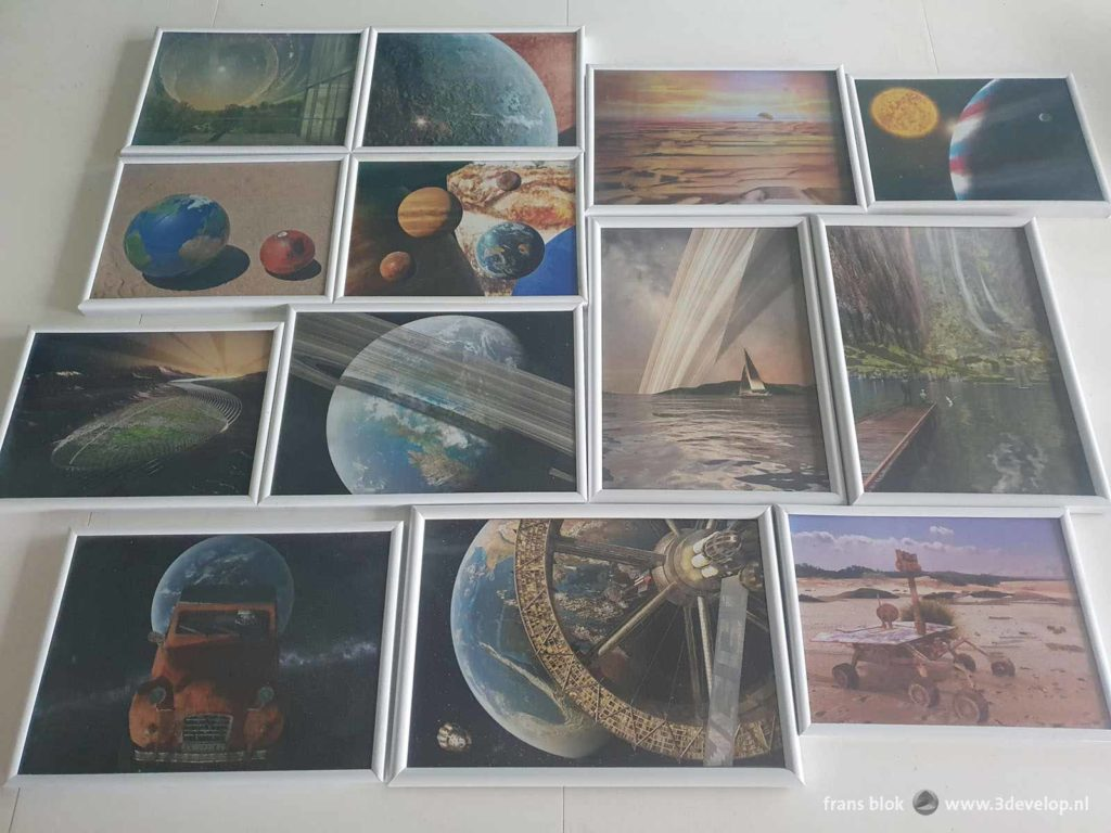 Thirteen pieces of space art by Frans Blok, framed and ready for an exhibition