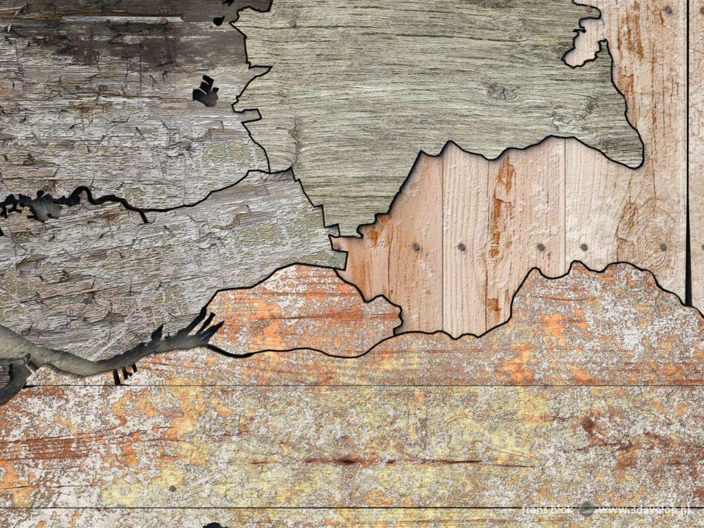 Detail of the provincial scrapwood map of The Netherlands including the enlargement of the province of Utrecht because of the merging of Vianen, Leerdam and Zederik