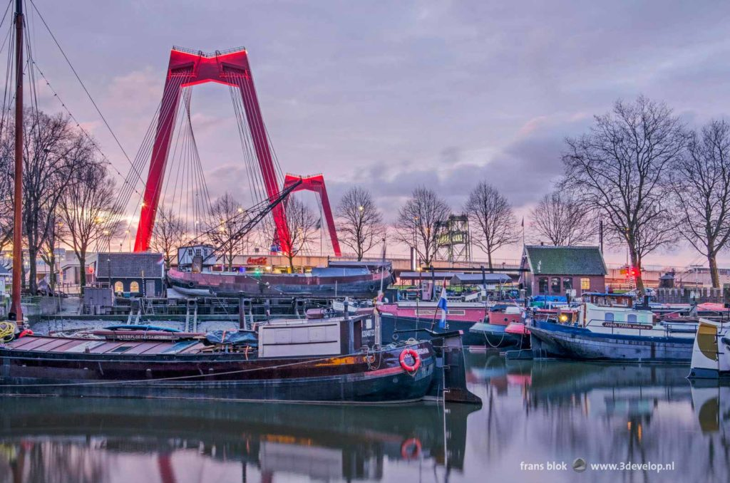 Sunrise over the Old Harbour and Willems Bridge in Rotterdam, The Netherlands