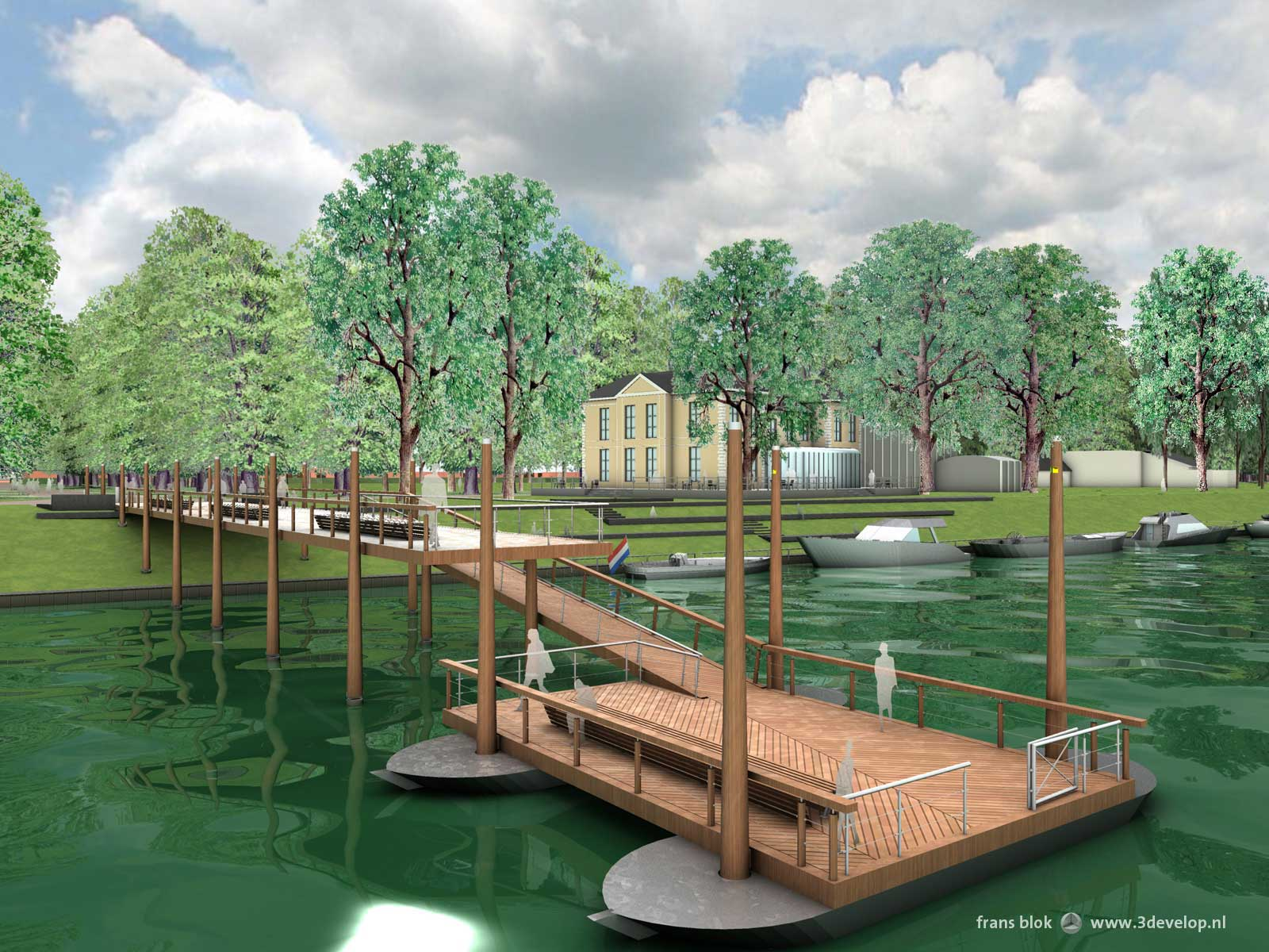 Room for the River, Deventer: artist impression of the future ferry pier.