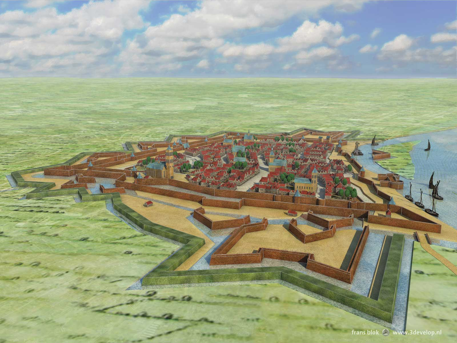 Visualisation of Venlo's fortifications in the 17th century