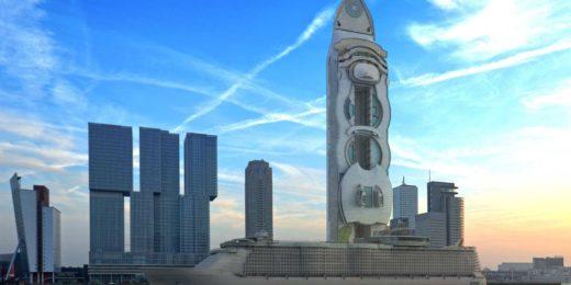 De Oasis of the Seas, het grootste cruiseschip ter wereld: hoe het eruit zou zien als woontoren, rechtop geplaatst op de Wilhelminapier in Rotterdam