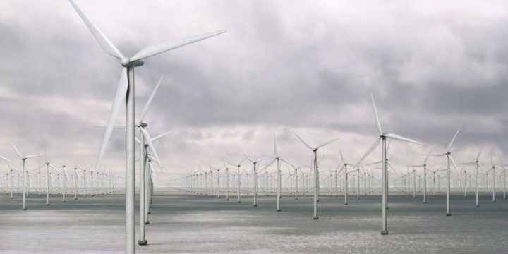 Visualisation of one thousand wind turbines and a little maintenance vessel on the North Sea