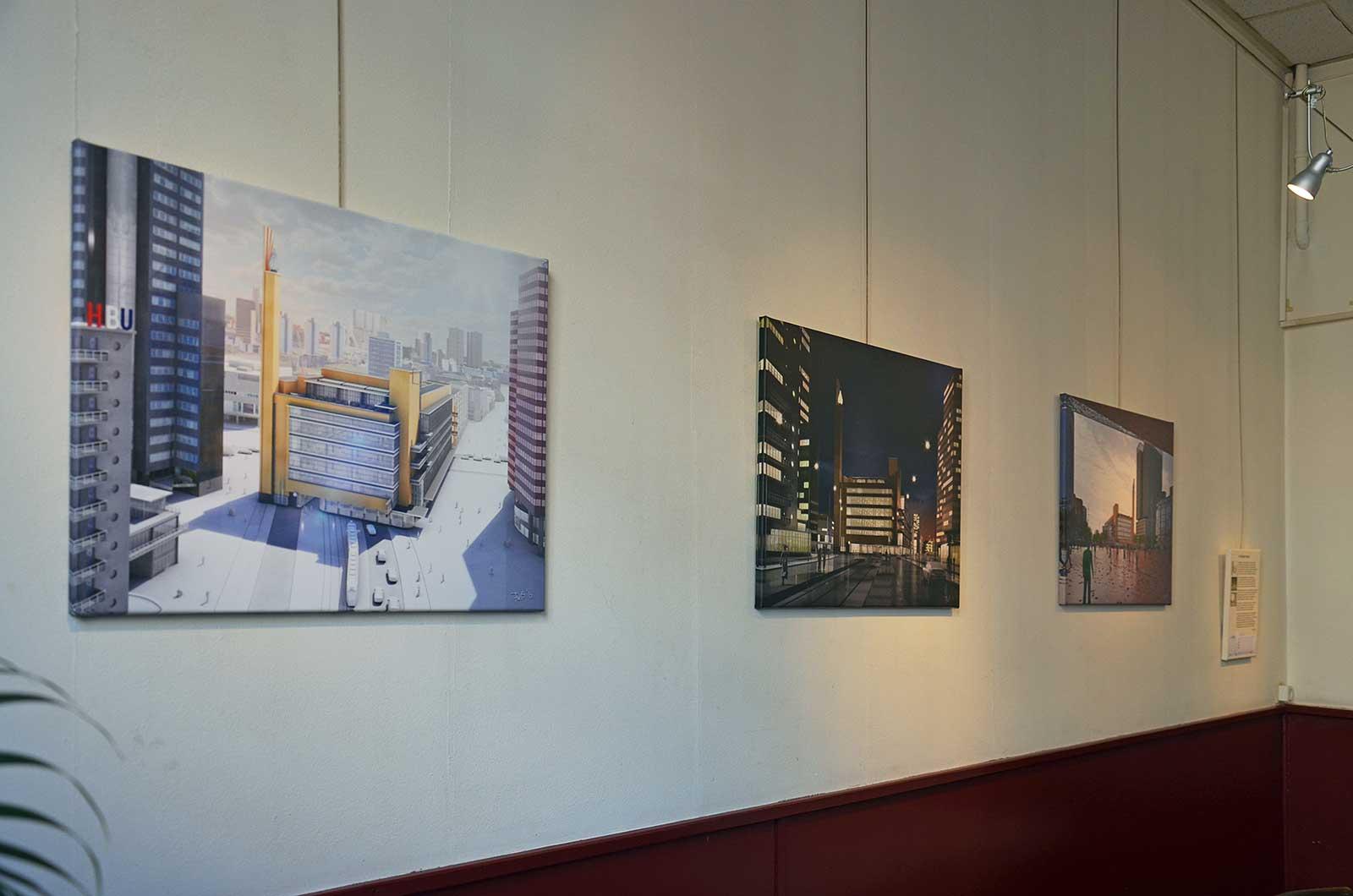 Tentoonstelling van afbeeldingen van Dudok's Bijenkorf bij het Nivon in Rotterdam