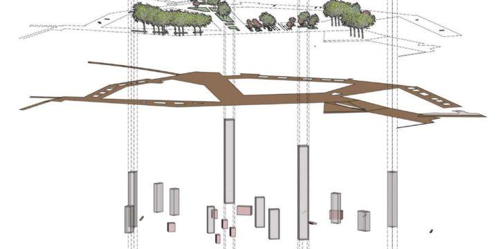 infographic van het ontwerp voor Meerrijk, Eindhoven, met de gestapelde lagen van gebouwen, beplanting, openbare ruimte, trappen en liften, constructie en parkeergarage