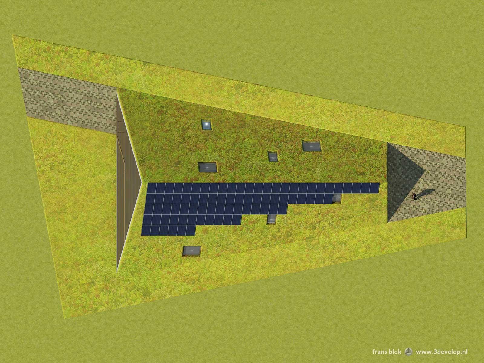 Bovenaanzicht van de Groene Piramide in Borne, een radicaal duurzame woning, met zonnepanelen en begroeid dak