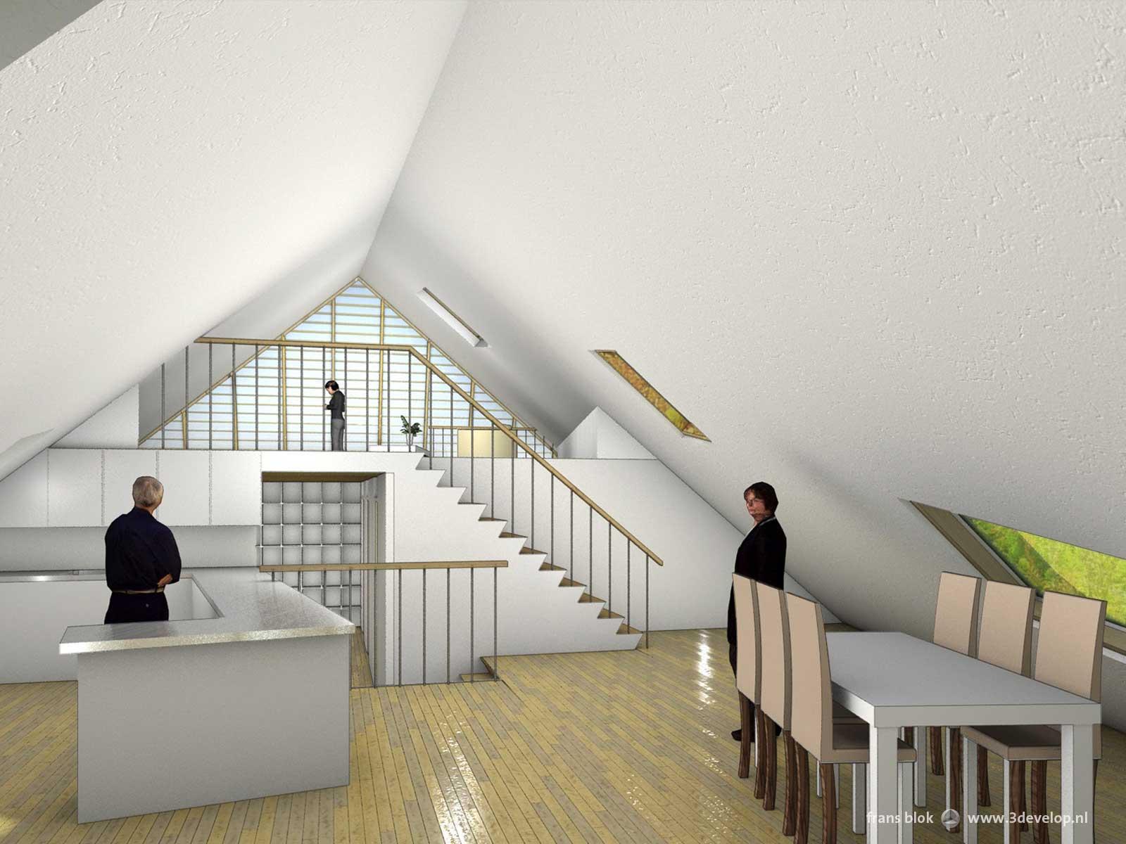 Interieurbeeld van de Groene Piramide in Borne, een radicaal duurzame woning, met een doorkijkje vanuit de keuken naar de woonkamer