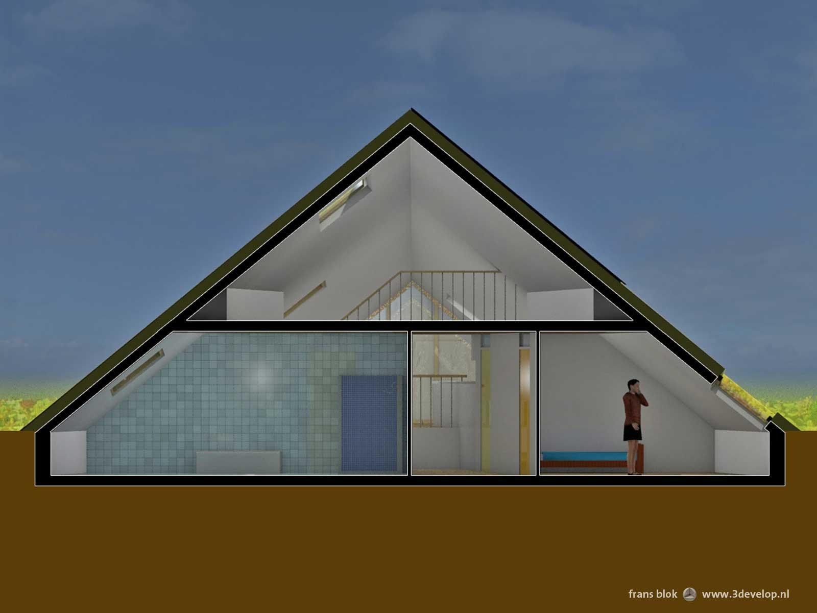 Dwarsdoorsnede van de Groene Piramide in Borne, een radicaal duurzame woning, met een halfondergrondse slaapverdieping en daarboven de woonkamer