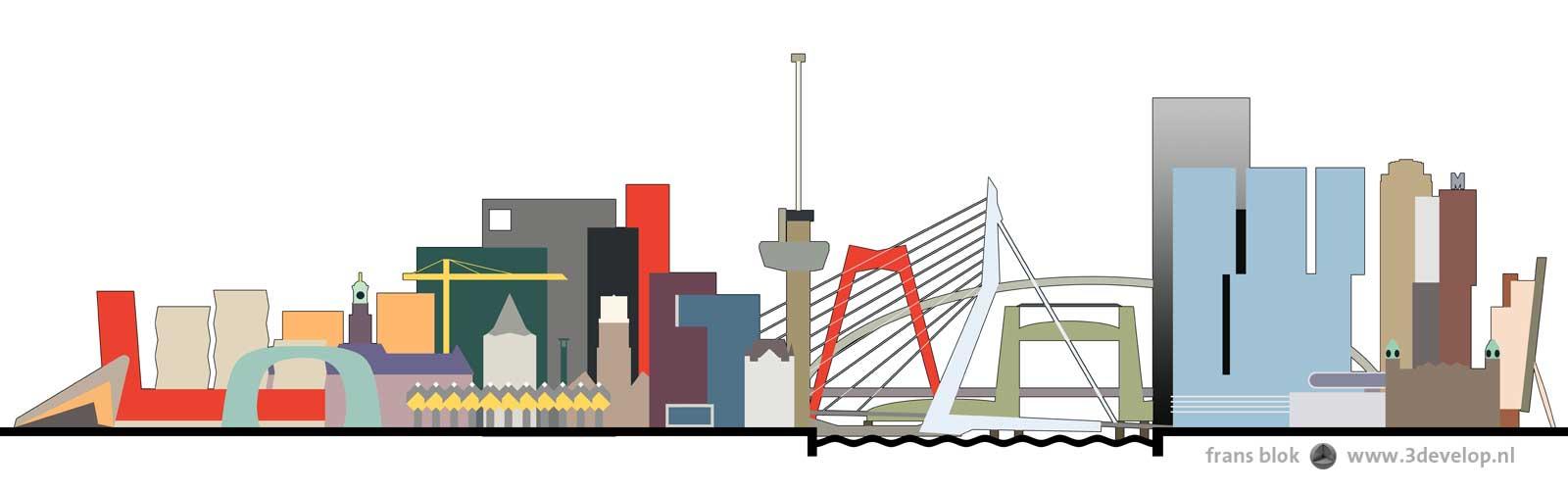 Grafische weergaven van de kleurrijke skyline van Rotterdam, met vier bruggen en met iconische gebouwen als het Centraal Station, de Markthal, de Euromast en De Rotterdam