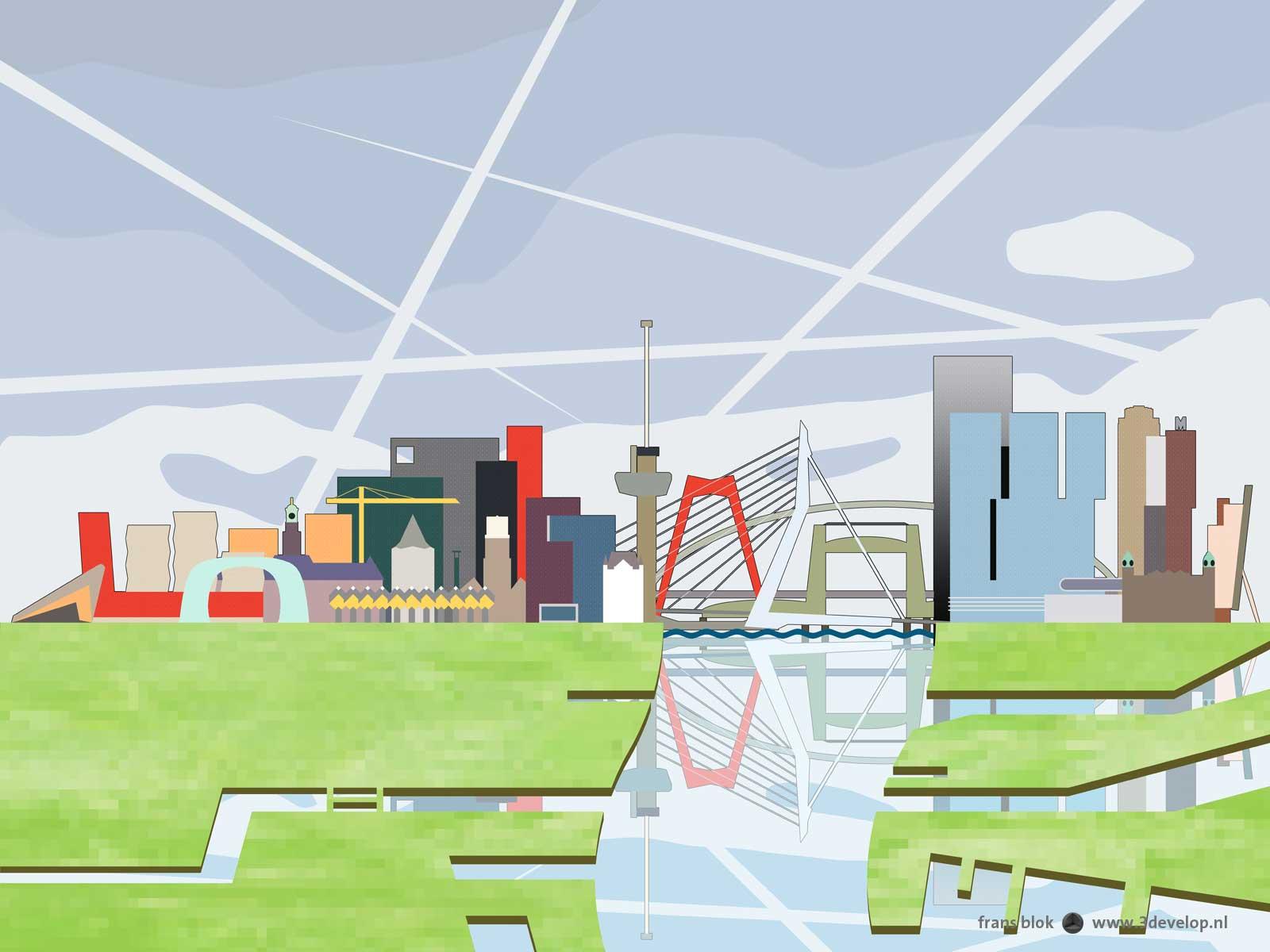Grafische weergave van de kleurrijke skyline van Rotterdam, uitgebreid met lucht, Nieuwe Maas en havens