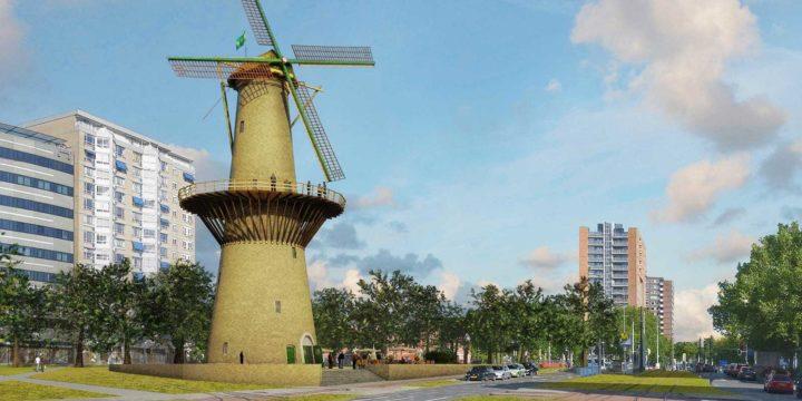 Artist impression van Molen de Noord, herbouwd op het met meer groen heringerichte Oostplein in Rotterdam