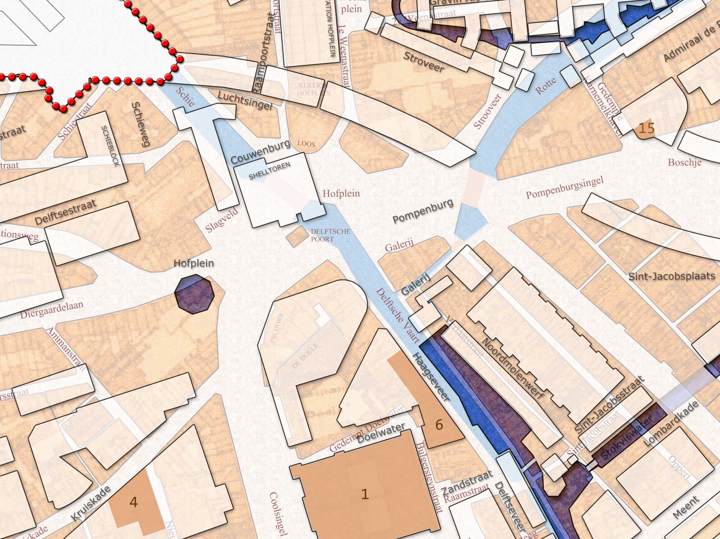 Dubbelplattegrond Rotterdam 1939 / 2014 - fragment Hofplein
