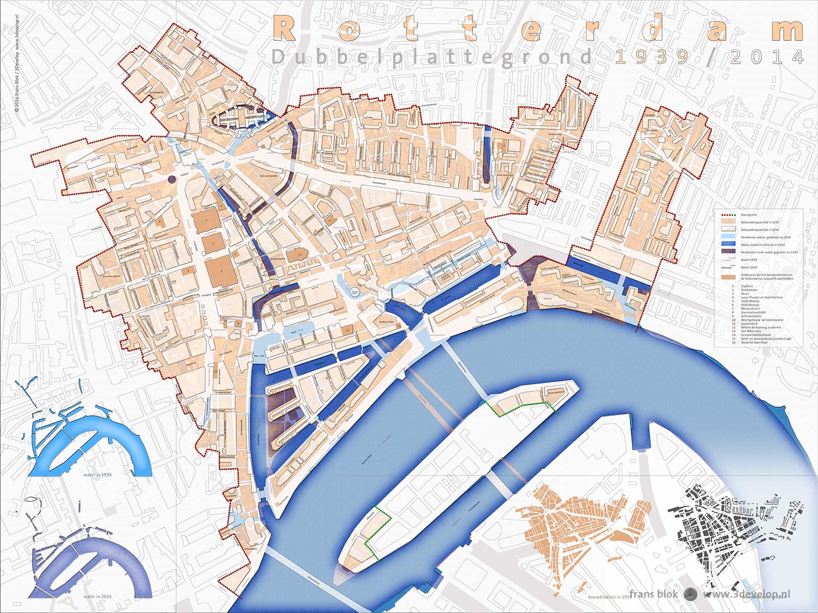 Double plan of Rotterdam: the cities of 1939 and 2014 juxtaposed