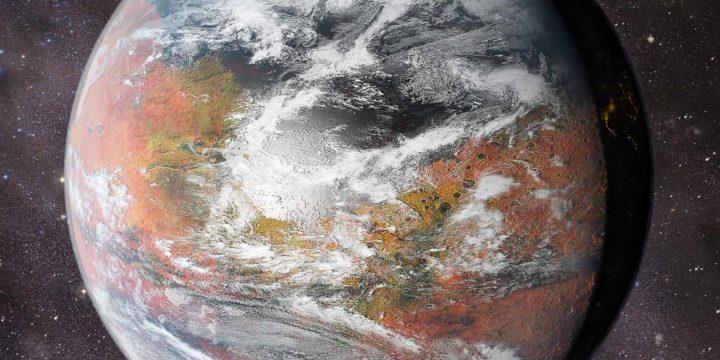 Beeld vanuit de ruimte van een geterraformeerd Mars, met de Noordelijke Oceaan en de Noordpool, Kasei Vallis, Valles Marineris, Arabia Terra en het hoogland van Tharsis, met een achtergrond van sterren