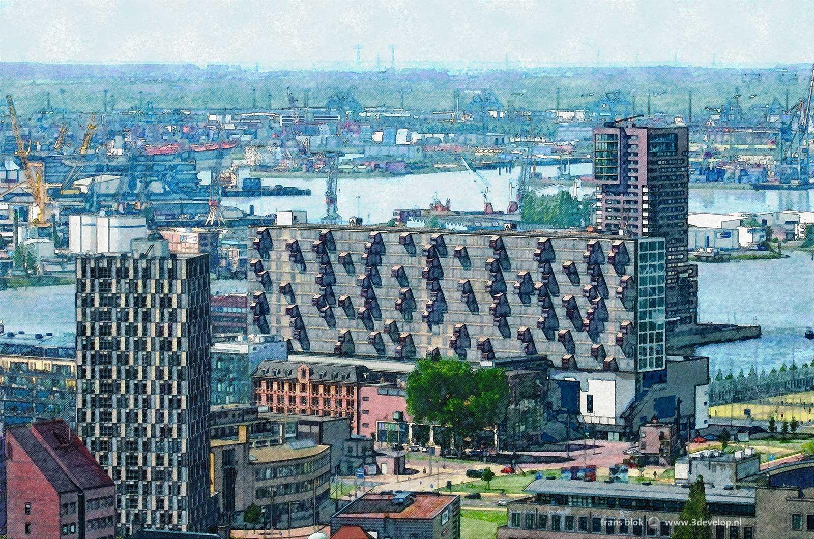 Verschildering van de nieuwe wijk Lloydkwartier in Rotterdam met de Nieuwe Maaas en de Waalhaven op de achtergrond