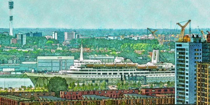 Paintified image of former cruiseship SS Rotterdam, with the neighbourhood of Katendrecht in the foreground and Waalhaven industrial area in the background