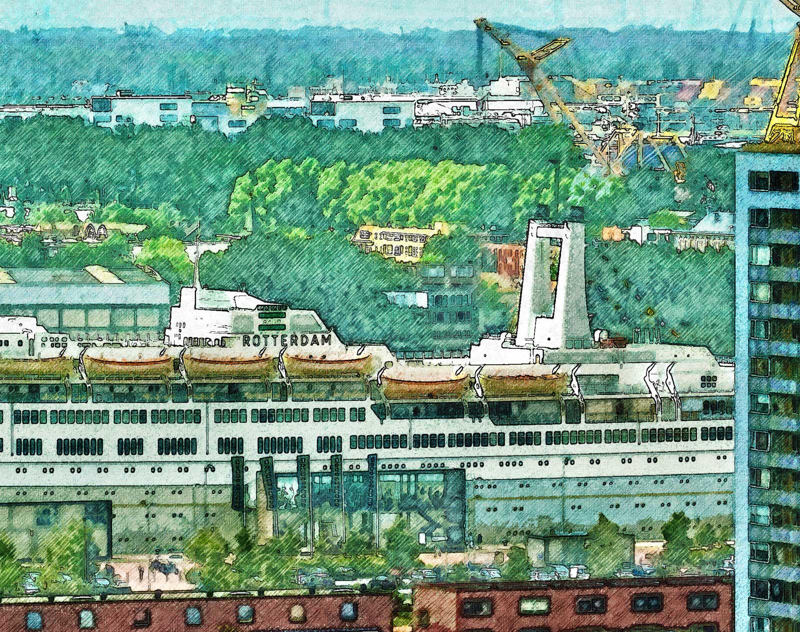 Verschilderd beeld van het voormalig cruiseschip SS Rotterdam met de wijk Katendrecht op de voorgrond en de industrie van de Waalhaven op de achtergrond