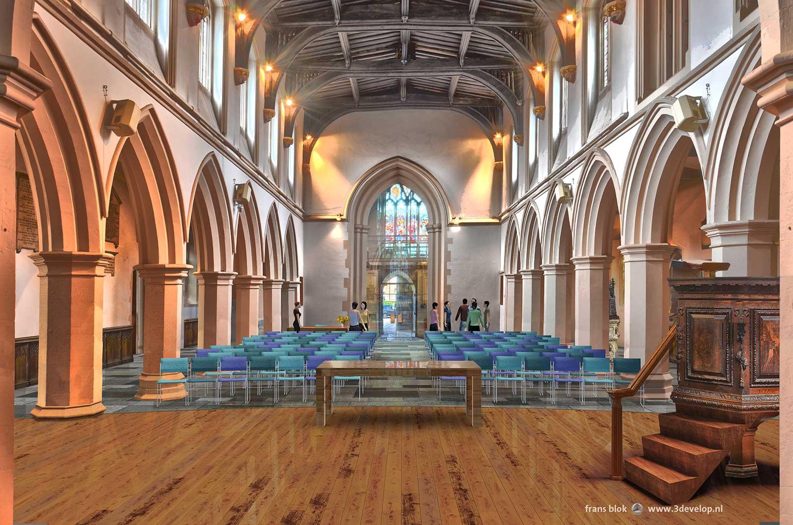 Interieurimpressie van St.Mary's church in Watford na renovatie, kijkend vanaf het houten podium in de richting van de kerkzaal en de hoofdentree