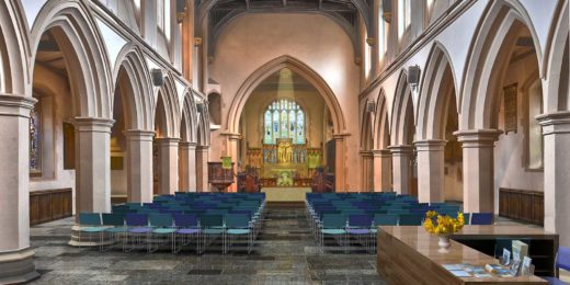 Artist impression of St.Mary's church in Watford, looking from the west entrance towards the main church hall and the chancel area