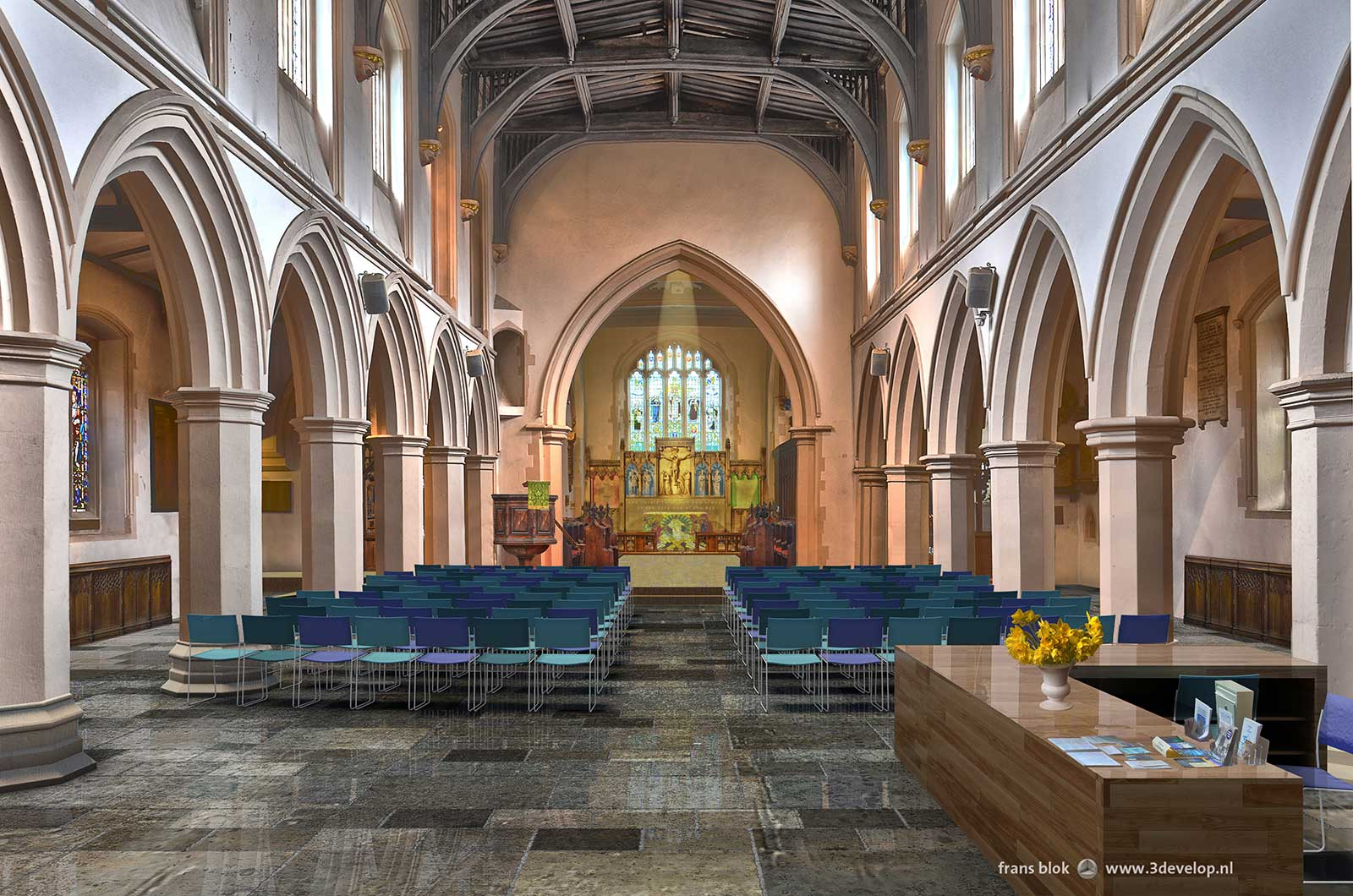 Watford St.Mary's church interior: view from west entrance