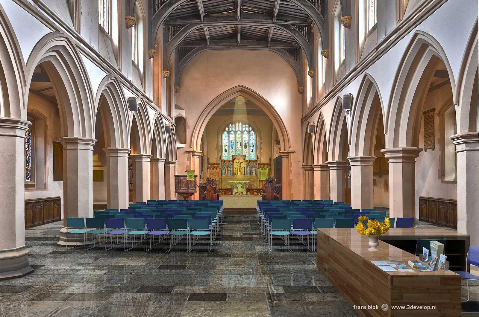 Artist impression van het interieur van Watford St.Mary's church na renovatie, gezien vanaf de westelijke ingang in de richting van de kerkzaal en het koor