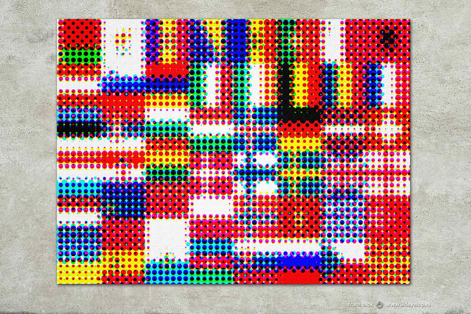 halftone patterned version of a composition of 48 European flags