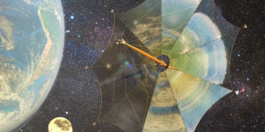 Impression of solar sail Johannes Kepler on its way to the moons of Jupiter against a background of stars with the Earth on the left and the moon in the distance