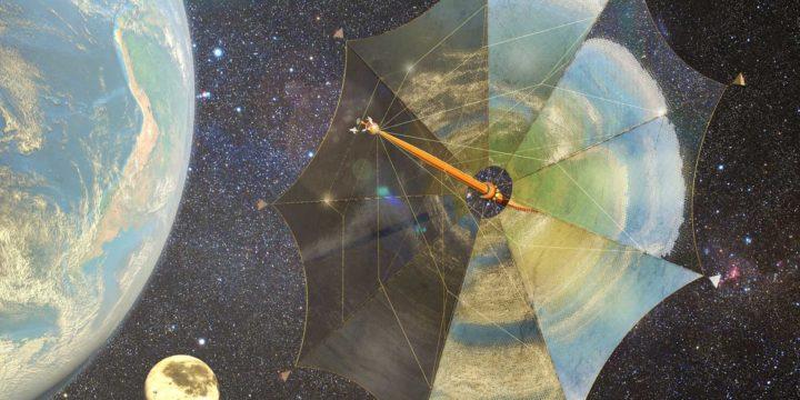Impressie van zonnezeilschip Johannes Kepler op weg naar de manen van Jupiter, tegen een achtergrond van sterren met links de Aarde en in de verte de Maan