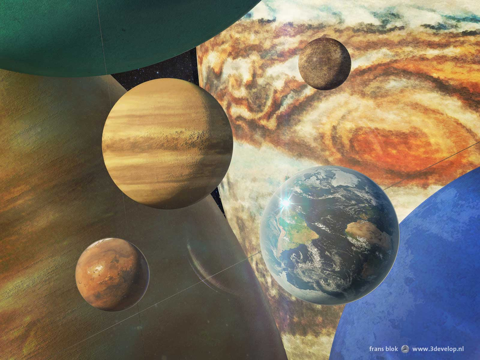 group portrait of the eight planets of our solar system
