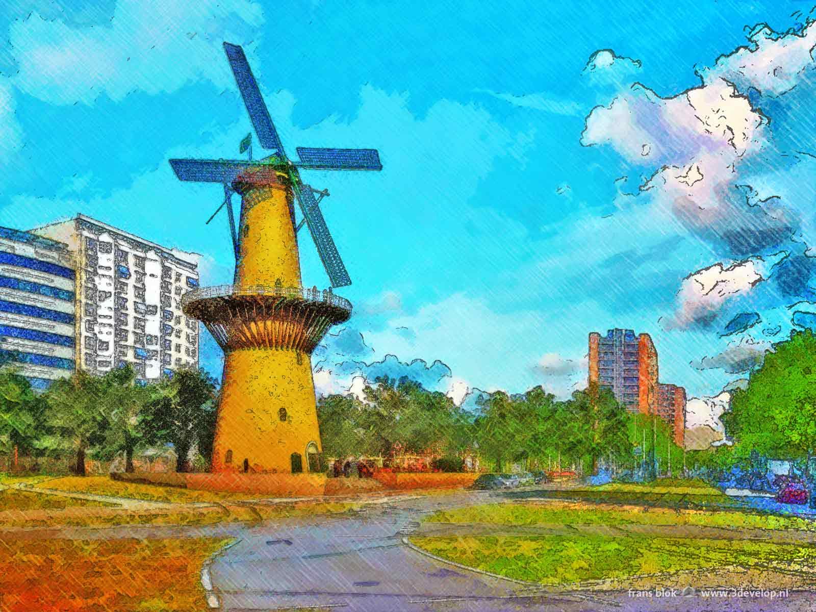 Schilderachtige impressie van Molen de Noord herbouwd op het Oostplein in Rotterdam