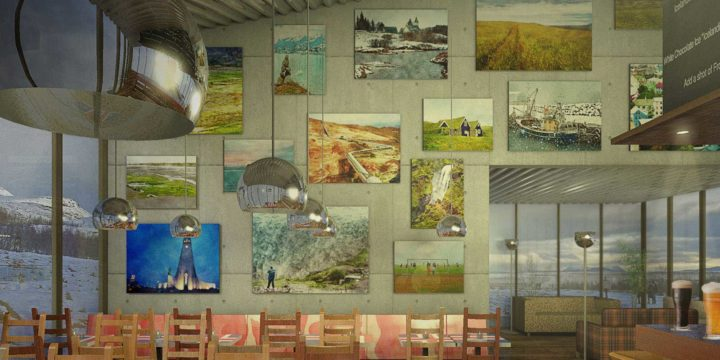Artist impression of a fictional Icelandic cafe, warm and cosy inside, with paintified landscape photo's on the wall, beer on the bar and the Icelandic flag on the tables, and with a snowy landscape outside