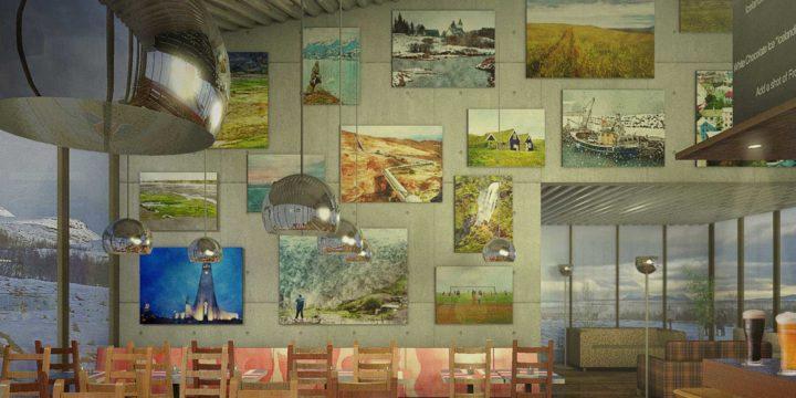 Artist impression van het inerieur van een fictief café in IJsland, warm en knus, met verschilderde landschapsfoto's aan de muur, bier op de bar en de IJslandse vlag op de tafeltjes, en met buiten een besneeuwd landschap