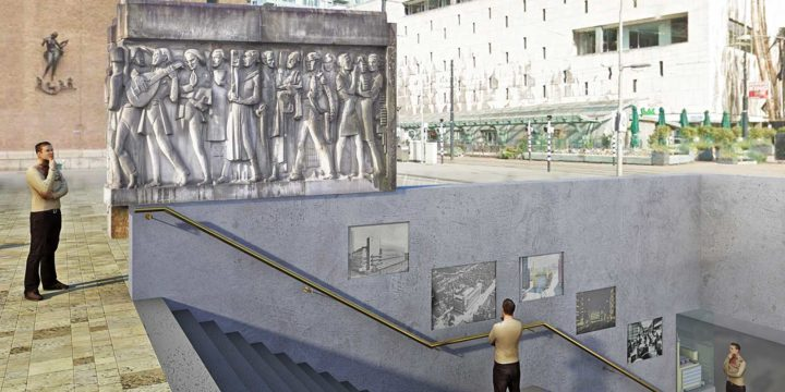 Artist impression of the facade sculpture by Hendrik van den Eijnde, originally on the old Bijenkorf bij architect Dudok, integrated in one of the entrances of Beurs metro station in Rotterdam