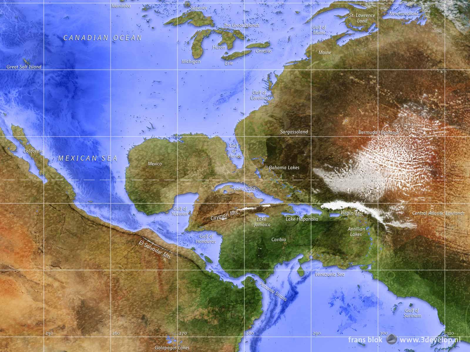 Fragment van de omgekeerde wereldkaart - land en zee zijn omgewisseld - met het gebied rond Caribie en de Amerikaanse Oceanen