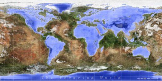De omgekeerde wereldkaart: land en zee zijn omgewisseld, continenten zijn oceanen, meren zijn eilanden, en andersom, in kleuren geïnspireerd door NASA's Blue Marble