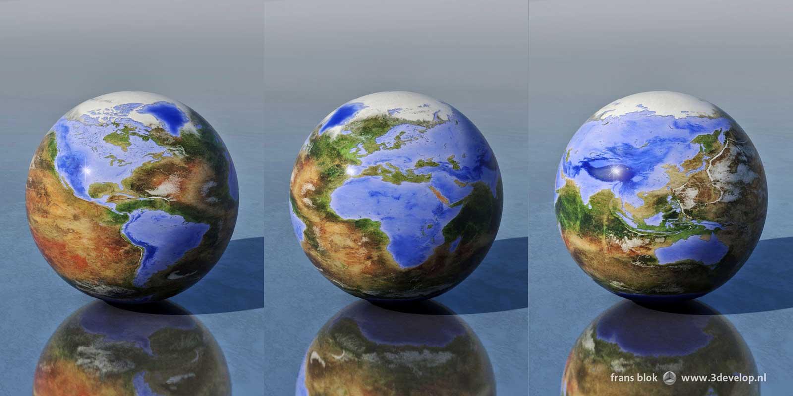 Drie omgekeerde wereldbollen, waarop land en water zijn omgewisseld: een met de Amerika's, een met Europa en Afrika en een met Azië en Australië