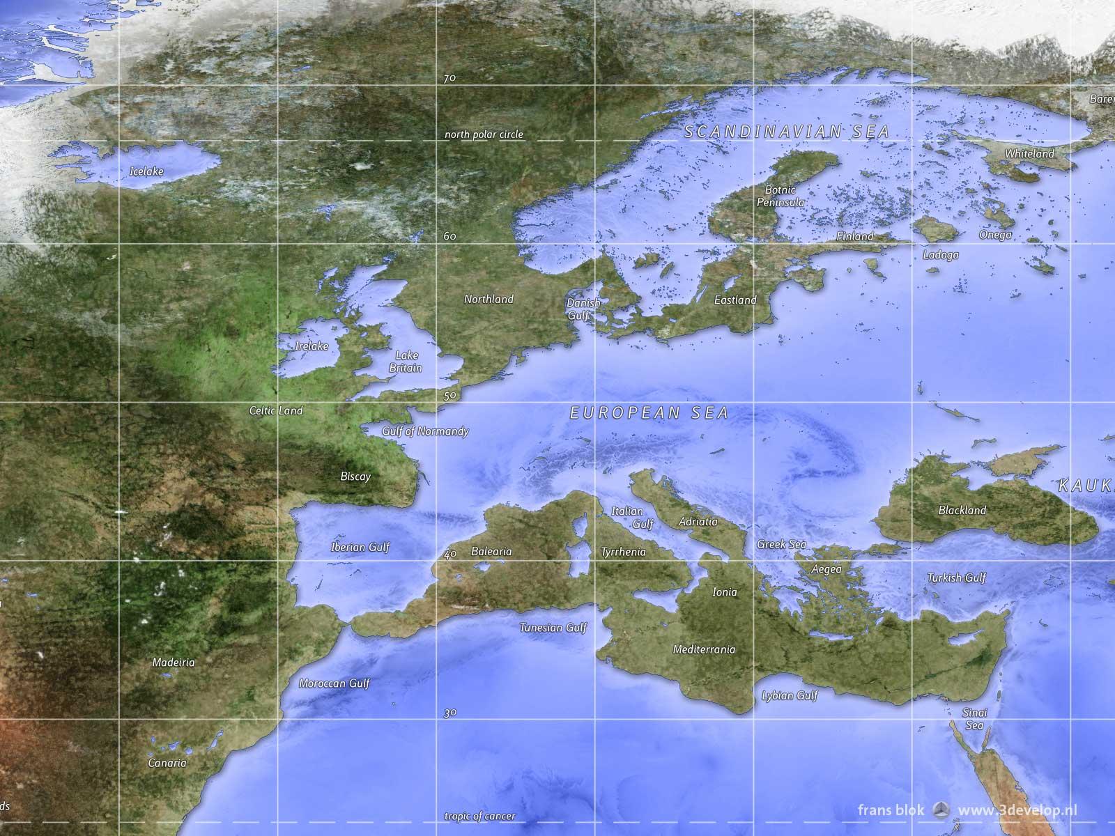Fragment van de omgekeerde wereldkaart - land en zee zijn omgewisseld - met het gebied rond de Europese zee en het Mediterraan schiereiland