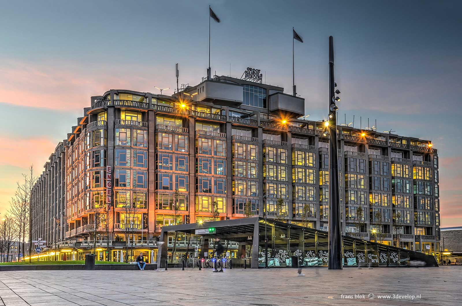 Station Square and Great Trade Building in Rotterdam around sunset
