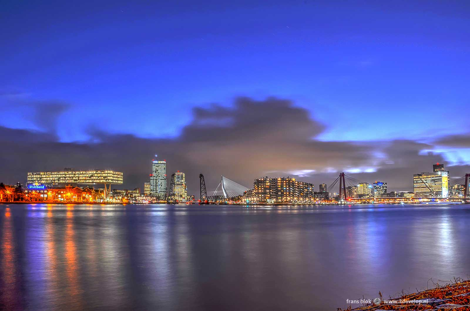 Evening image of Rotterdam and the river Nieuwe Maas made not long after sunset