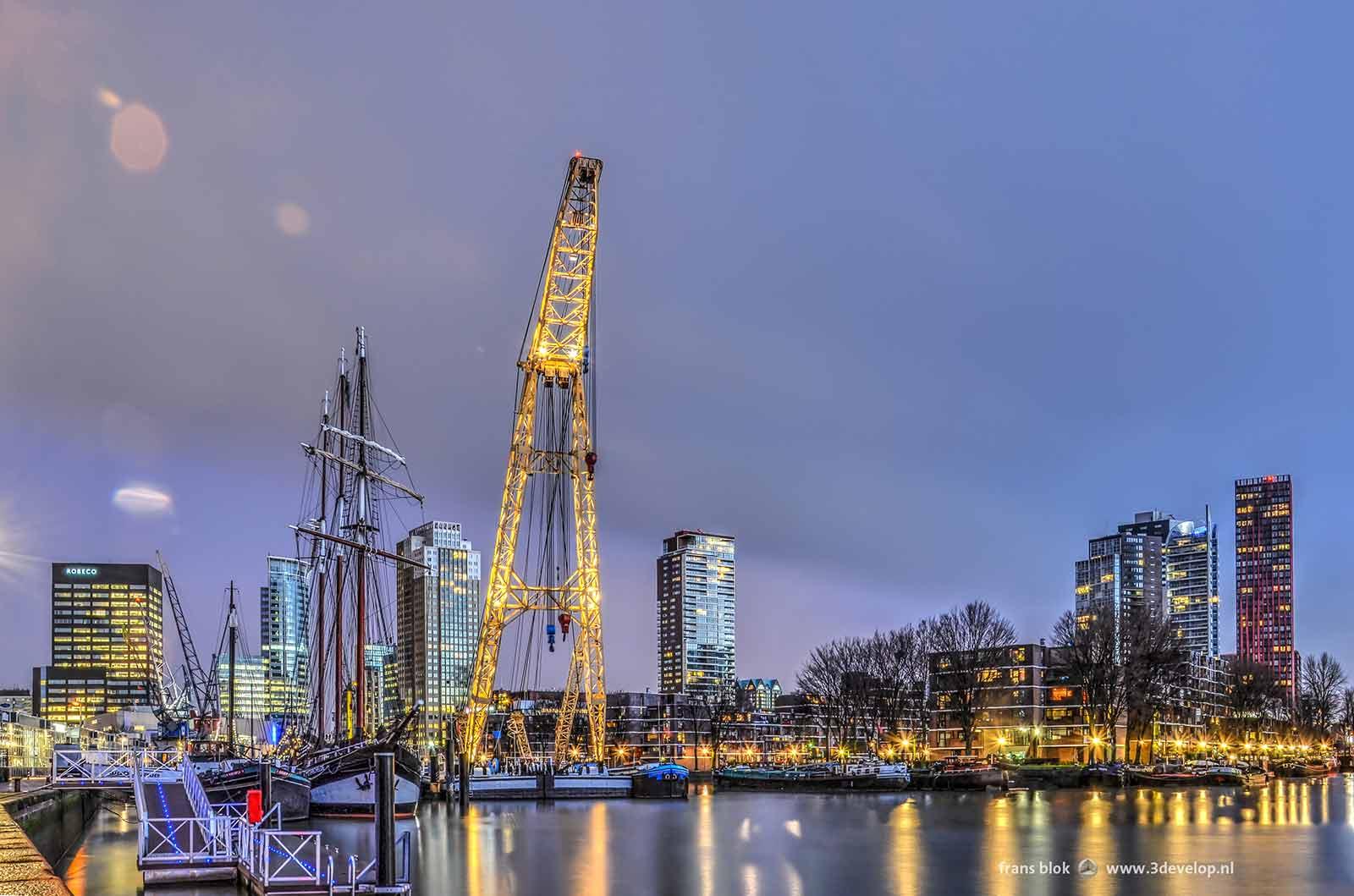 Vroege ochtend boven de Leuvehaven in Rotterdam met daarin een driemaster, een drijvende kraan en andere historische schepen